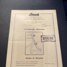Coches y Motocicletas: BICICLETAS - ANTIGUO CATALOGO 1 HOJA 15 JUNIO 1928 TARIFA Nº 5 BOSCH ALUMBRADO BICICLETAS. Lote 277024163