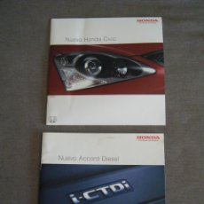 Coches y Motocicletas: LOTE 2 CATÁLOGOS NUEVO HONDA CIVIC Y HONDA ACCORD DIESEL DEL AÑO 2003. Lote 277275123