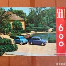 Carros e motociclos: FOLLETO DÍPTICO ILUSTRADO, PUBLICIDAD AUTOMÓVIL SEAT 600, 21 X 31 CM, ORIGINAL 1950-60S. Lote 277765138