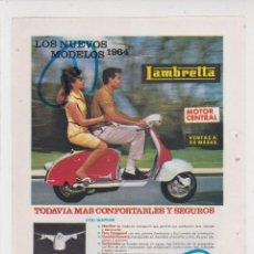 Voitures et Motocyclettes: PUBLICIDAD 1964. ANUNCIO MOTO LAMBRETTA. Lote 278632663