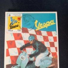 Coches y Motocicletas: VESPA 50 ANIVERSARIO VESPA 1996 TARJETA POSTAL PONTEDERA. Lote 285748363