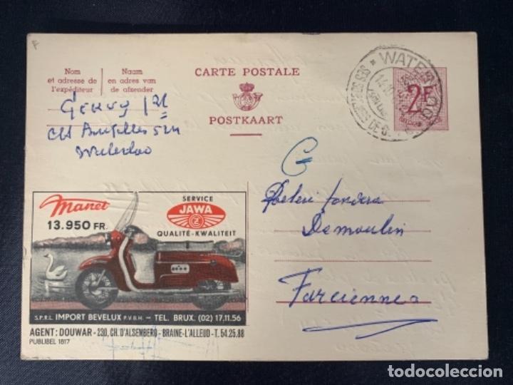 TARJETA POSTAL MOTO JAWA BELGICA 1961 (Coches y Motocicletas Antiguas y Clásicas - Catálogos, Publicidad y Libros de mecánica)
