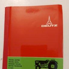 Coches y Motocicletas: DATOS TÉCNICOS TRACTORES DEUTZ KHD. AÑOS 70. EXCELENTE ESTADO. Lote 287912548