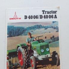 Coches y Motocicletas: FOLLETO PUBLICIDAD TRACTOR DEUTZ D 40 06 A. Lote 288608148