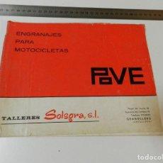 Coches y Motocicletas: CATÁLOGO DE ENGRANAJES PARA MOTOCICLETAS POVE 1970 ORIGINAL DERBI OSSA MONTESA GUZZI DUCATI BULTACO. Lote 288912898