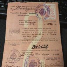 Coches y Motocicletas: DOCUMENTO DE VEHÍCULO DE MOTOR 2° CATEGORÍA. BADAJOZ 1934. Lote 289753753