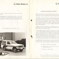 Voitures et Motocyclettes: NISSAN PATROL 1983 DOCUMENTOS DE PRENSA 7 HOJAS +3 FOTOS 18X13CM. Lote 290026863