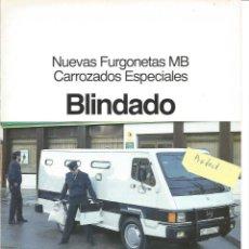 Voitures et Motocyclettes: MERCEDES-BENZ NUEVAS FURGONETAS MB CARROCERÍAS ESPECIALES BLINDADO 1987 FOLLETO 4 PÁGINAS. Lote 290030448