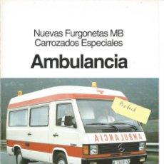 Voitures et Motocyclettes: MERCEDES-BENZ NUEVAS FURGONETAS MB CARROCERÍAS ESPECIALES AMBULANCIA 1987 FOLLETO 4 PÁGINAS. Lote 290031638