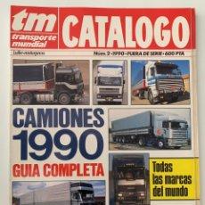 Coches y Motocicletas: REVISTA CATÁLOGO TRANSPORTE MUNDIAL TM CAMIONES 1990 GUIA COMPLETA. Lote 296590548
