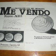 Catálogos y Libros de Monedas: ACUÑACIONES ESPAÑOLAS, MUNDIAL 82. PUBLICIDAD.. Lote 21276551