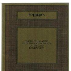 Catálogos y Libros de Monedas: SOTHEBY'S. CATÁLOGO SUBASTA 21 NOV. 1985. MONEDAS ANTIGUAS, ISLAMICAS, EXTRANJERAS Y BILLETES. Lote 22762393