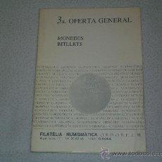 Catálogos y Libros de Monedas: CATALOGO NUMISMÁTICA - FILATELIA - NUMISMÁTICA ORDOÑEZ - GIRONA - MONEDAS Y BILLETES. Lote 27545150