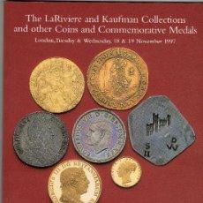 Catálogos y Libros de Monedas: CATALOGO DE MONEDAS SPINK. AÑO 1997. COLECCION DE LA RIVIERE Y KAUFMAN Y OTRAS MONEDAS Y MEDALLAS. . Lote 28168298
