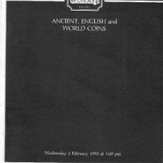 Catálogos y Libros de Monedas: CATALOGO DE SUBASTAS GLENDINING'S. MONEDAS INGLESAS Y EXTRANJERAS ANTIGUAS. AÑO 1993.. Lote 28327986