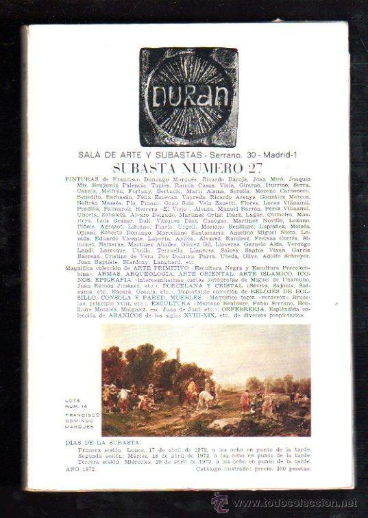 DURAN. SUBASTA Nº 27. 1927. SALA DE ARTE Y SUBASTAS. LOTE Nº 14. FRANCISCO DOMINGO MARQUES (Numismática - Catálogos y Libros)