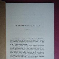 Catálogos y Libros de Monedas: CORUÑA. GALICIA. NUMISMATICA. 'DE MONETARIA GALLEGA' CESAR VAAMONDE LORES' . Lote 29898776