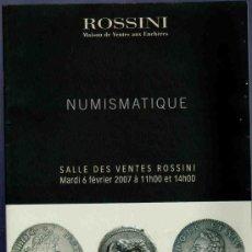 Catálogos y Libros de Monedas: CATALOGO NUMISMATICA. ROSSINI. 2007. MONNAIES ANTIQUES, FEODALES, ETRANGERES.... Lote 33341922