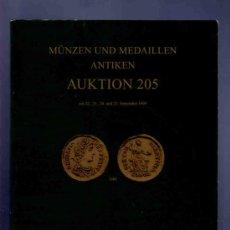 Catálogos y Libros de Monedas: CATALOGO MONEDAS Y MEDALLAS ANTIGUAS. SUBASTA. HIRSCH. MUNZEN, MEDAILLEN ANTIKEN. AUKTION 205. 1999.. Lote 33342987