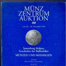 Catálogos y Libros de Monedas: CATALOGO MONEDAS Y MEDALLAS. ANTIGUAS Y MODERNAS. MUNZ ZENTRUM AUKTION. 80. 1994.. Lote 33393929