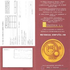 Catálogos y Libros de Monedas: FOLLETO INFORMATÍVO.MEDALLAS CONMEMORATIVAS MUNDIAL ESPAÑA 82. NVMISMA,S.A.DIPTICO + HOJA DE PRECIOS. Lote 34138264