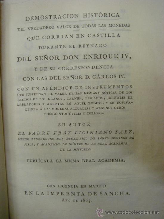 Catálogos y Libros de Monedas: DEMOSTRACIÓN HISTÓRICA DEL VALOR DE LAS MONEDAS 1805 - Foto 6 - 32169146