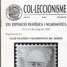 Catálogos y Libros de Monedas: REVISTA COL.LECCIONISME Nº 2 ÈPOCA II CLUB FILATELIC I NUMISMATIC LLEIDA AÑO 1998. Lote 35909136