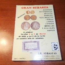 Catálogos y Libros de Monedas: CATALOGO NUMISMÁTICA GRAN SUBASTA: MONEDAS, ACCIONES, POSTALES, LETRAS, MEDALLAS, BARAJAS, LOTERIA. Lote 36119599