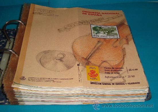 CATALOGO COLECCION CON 220 FASCICULOS EXPLICATIVOS DE LAS EMISIONES DE SELLOS DE ESPAÑA, 1982 A 1990 (Numismática - Catálogos y Libros)