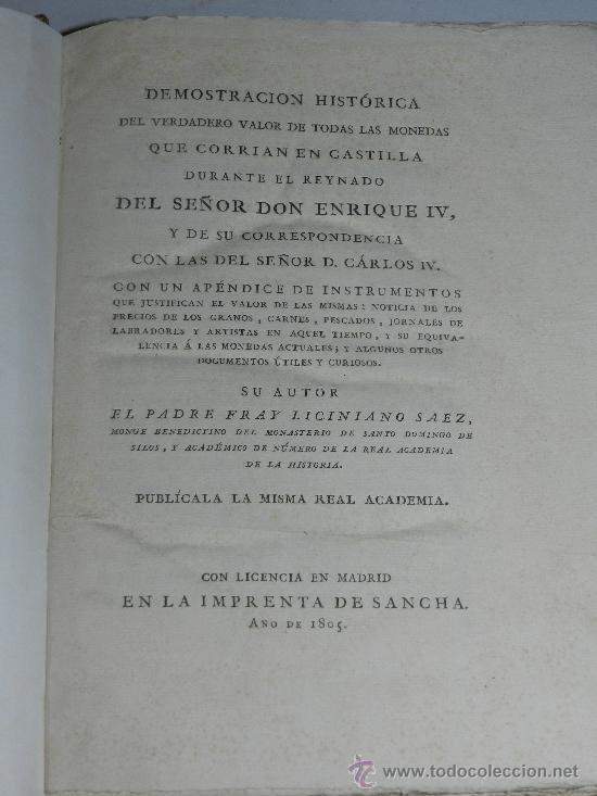 (M-22) FRAY LICINIANO SAEZ - DEMOSTRACION HISTORICA DEL VALOR DE TODAS LAS MONEDAS EN CASTILLA (Numismática - Catálogos y Libros)
