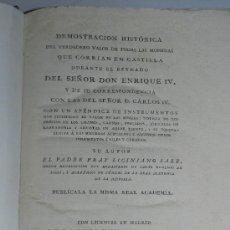 Catálogos y Libros de Monedas: (M-22) FRAY LICINIANO SAEZ - DEMOSTRACION HISTORICA DEL VALOR DE TODAS LAS MONEDAS EN CASTILLA. Lote 37690416