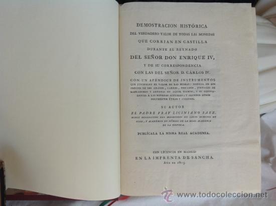 Catálogos y Libros de Monedas: Demostración histórica del verdadero valor de las monedas de Enrique IV, Liciniano Sáez, Madrid,1805 - Foto 11 - 38904402