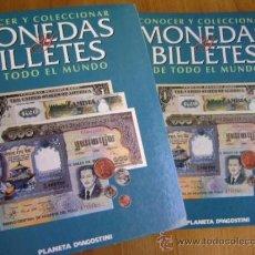 Catálogos y Libros de Monedas: CONOCER Y COLECCIONAR MONEDAS Y BILLETES DE TODO EL MUNDO PLANETA DEAGOSTINI. TOMOS 1 Y 2. Lote 39064020