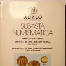 Catálogos y Libros de Monedas: CATALOGO AUREO SUBASTA NUMISMATICA. Lote 39648765