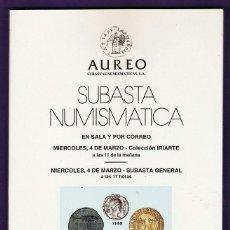 Catálogos y Libros de Monedas: CATALOGO SUBASTA NUMISMATICA - MONEDAS Y BILLETES - AUREO / BARCELONA - MARZO 1998 - RD3. Lote 40926681