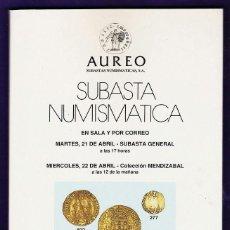 Catálogos y Libros de Monedas: CATALOGO SUBASTA NUMISMATICA - MONEDAS Y BILLETES - AUREO / BARCELONA - ABRIL 1998 - RD3. Lote 40926708