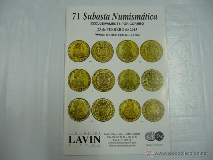 71 SUBASTA NUMISMATICA LAVIN. BILBAO. 23 DE FEBRERO DE 2013. TDK163 (Numismática - Catálogos y Libros)