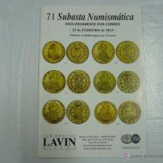 Catálogos y Libros de Monedas: 71 SUBASTA NUMISMATICA LAVIN. BILBAO. 23 DE FEBRERO DE 2013. TDK163. Lote 41047473