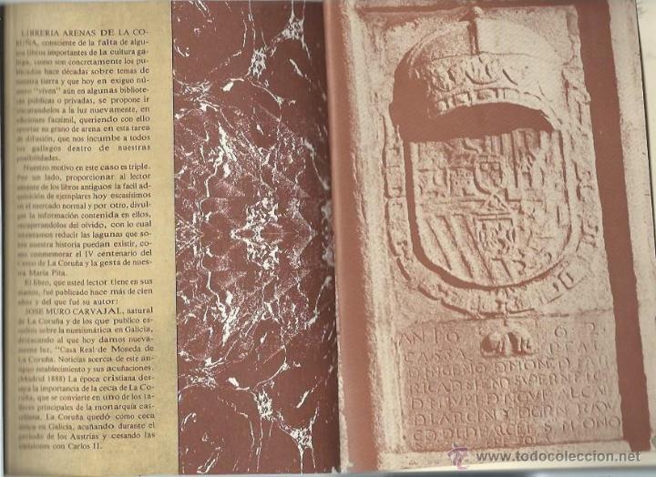 Catálogos y Libros de Monedas: CASA REAL DE LA MONEDA, LA CORUÑA, JOSÉ MURO CARVAJAL,FACSIMIL DE 1888 POR LIBRERÍA ARENAS 1989 - Foto 2 - 43796906