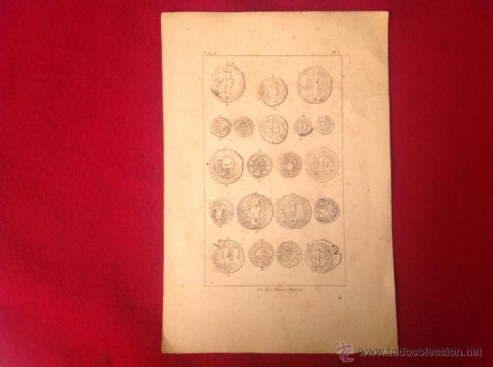 ANTIGUA Y PRECIOSA LÁMINA DE 23X15,5 CM. LITOGRAFÍA DE F. CRAUS, MADRID. (Numismática - Catálogos y Libros)