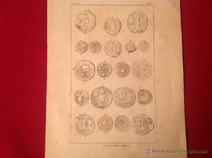 Catálogos y Libros de Monedas: Antigua y preciosa lámina de 23x15,5 cm. Litografía de F. Craus, Madrid. - Foto 2 - 56083266