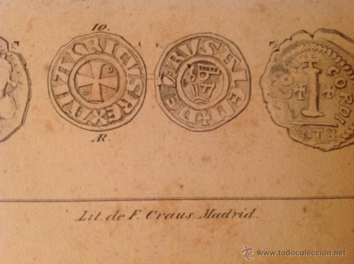 Catálogos y Libros de Monedas: Antigua y preciosa lámina de 23x15,5 cm. Litografía de F. Craus, Madrid. - Foto 3 - 56083266