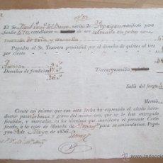 Catálogos y Libros de Monedas: POPAYAN * RECIBO COMPRA DE ORO * CASA DE MONEDA 1836. Lote 47127198