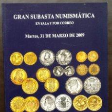 Catálogos e Livros de Moedas: CATÁLOGO NUMISMÁTICO NUMISMÁTICA SUBASTA MARTI HERVERA SOLER Y LLACH MARZO 2009. Lote 51614760