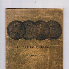 Catálogos y Libros de Monedas: CATALOGO 5ª VENTA PÚBLICA NOVIEMBRE 1968 JUAN R. CAYÓN MONEDAS Y MEDALLAS ANTIGUO. Lote 57107036