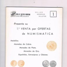 Catálogos y Libros de Monedas: CATALOGO 1ª VENTA POR OFERTAS DE NUMISMÁTICA EMLIO PASTOR MORENO 1975 ANTIGUO MONEDAS MEDALLAS. Lote 57107156