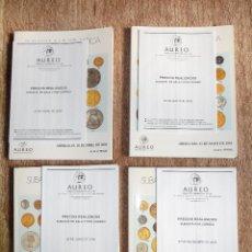 Catálogos y Libros de Monedas: LOTE DE 4 CATÁLOGOS AUREO AÑO **2005**, CON LISTAS DE PRECIOS REALIZADOS. Lote 62454816