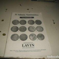 Catálogos y Libros de Monedas: C-JI02MJ 18 NUMISMATICA LAVIN SUBASTA 27 OCTUBRE 2007 C-JI02MJ. Lote 62705284