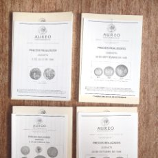 Catálogos y Libros de Monedas: LOTE DE 4 CATÁLOGOS AUREO AÑO **1998**, CON LISTAS DE PRECIOS REALIZADOS. Lote 63197548