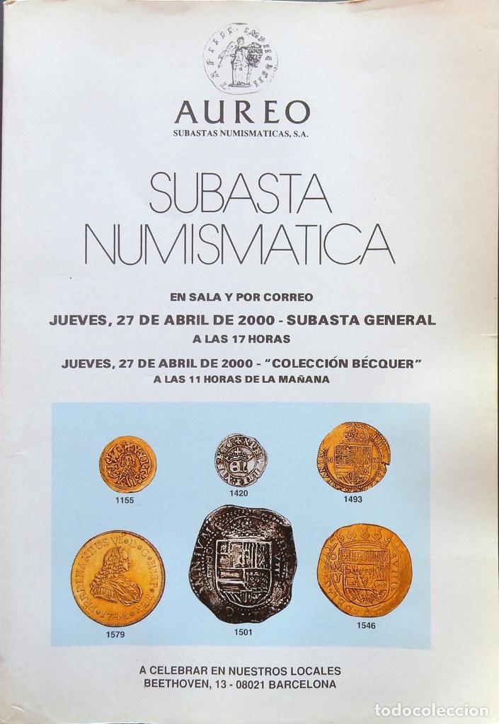 Catálogos y Libros de Monedas: Catálogo. Subasta numismática Áureo, Abril 2000. - Foto 2 - 68681481